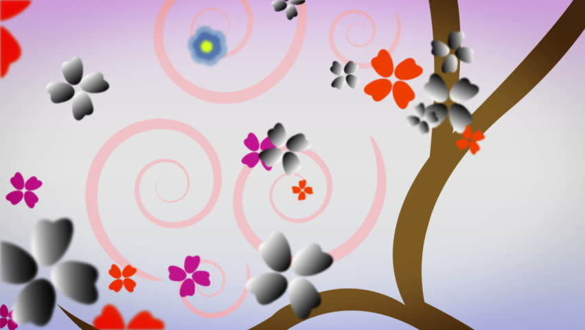 High Definition abstract CGI motion backgrounds ideal for editing, led backdrops or broadcasting featuring spinning multicolored flower like particles that zoom out to the shape of a tree - HD stock footage clip