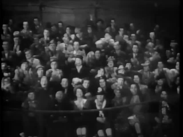 Wide shot of audience applauding circus act