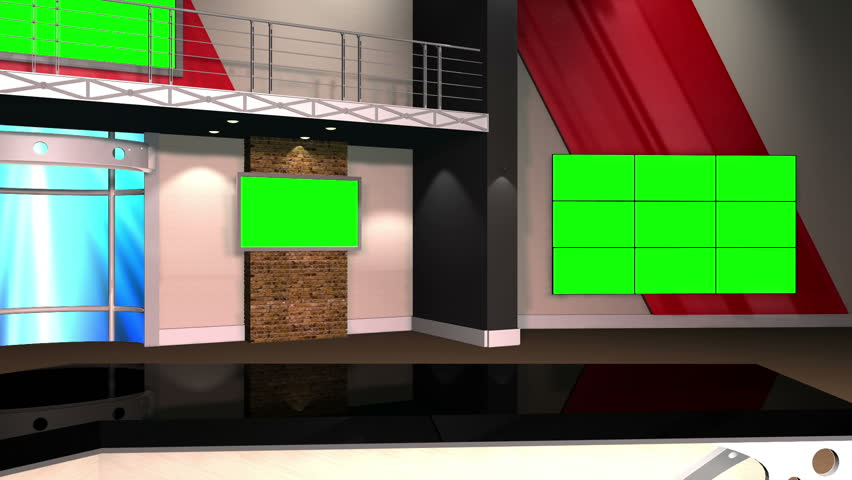 Virtual Set 12 - Right Anchor Newsroom Studio Background Shot   This is a virtual studio background that can be used in green screen video production to place your presenter into a newsroom.