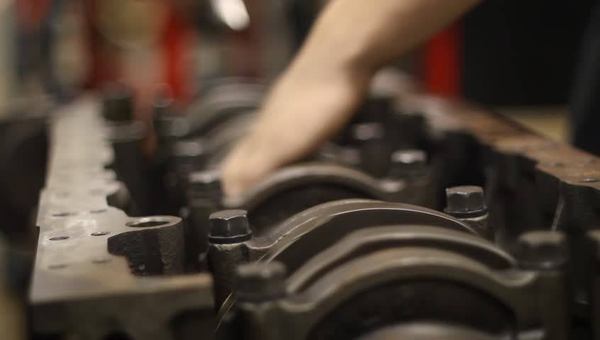 Tightening crankshaft - HD stock footage clip