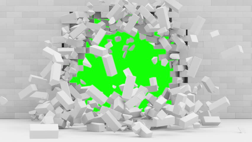 Animation of Brick Wall Exploding with Green Screen