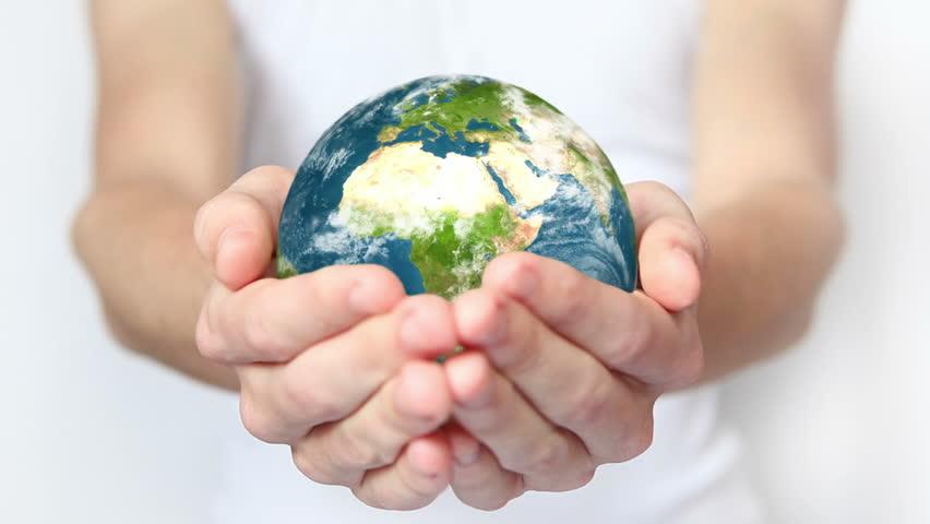 Earth in hands.