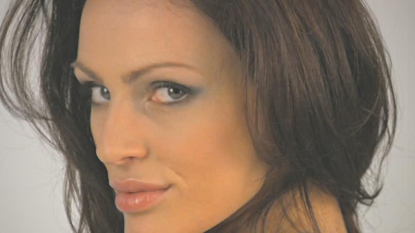Slow motion posing in studio - HD stock video clip