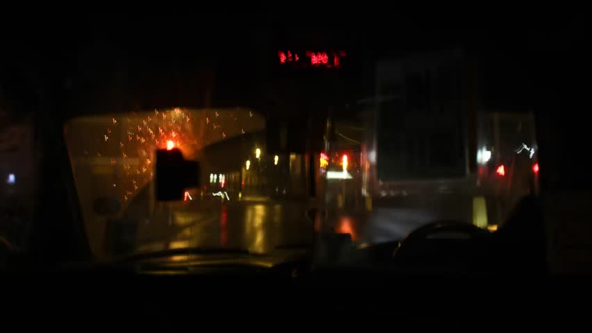 Night Moving Taxi Timelapse
