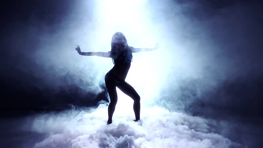 Artistic Dancer Into Dry Ice - Super Slow Motion Silhouette