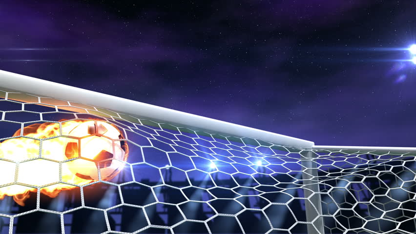burning soccer ball is slowly flying in the goal against night sky background, 3d animation