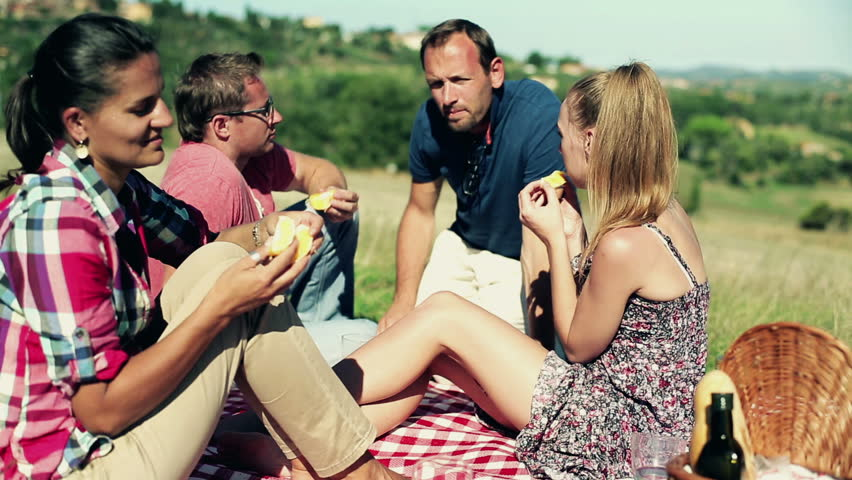 Group of happy friends on a picnic