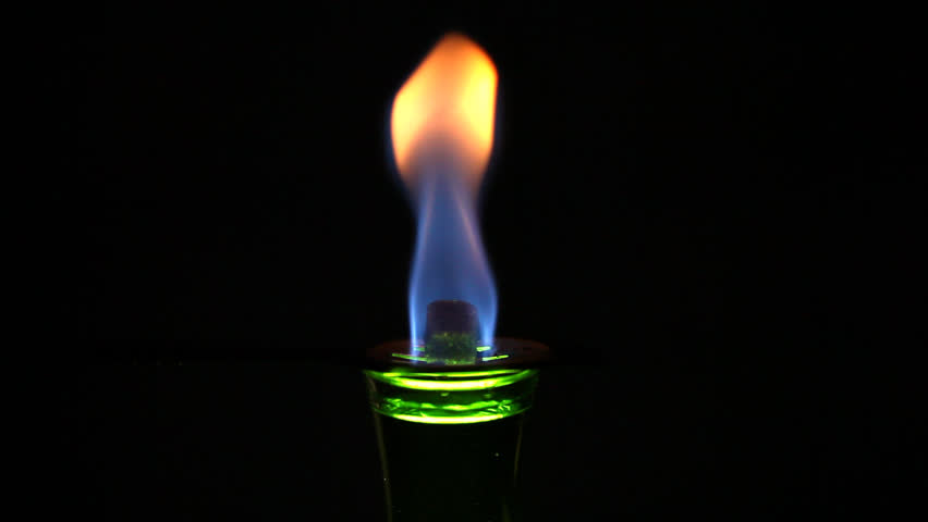 Burning a cocktail with absinthe - HD stock footage clip