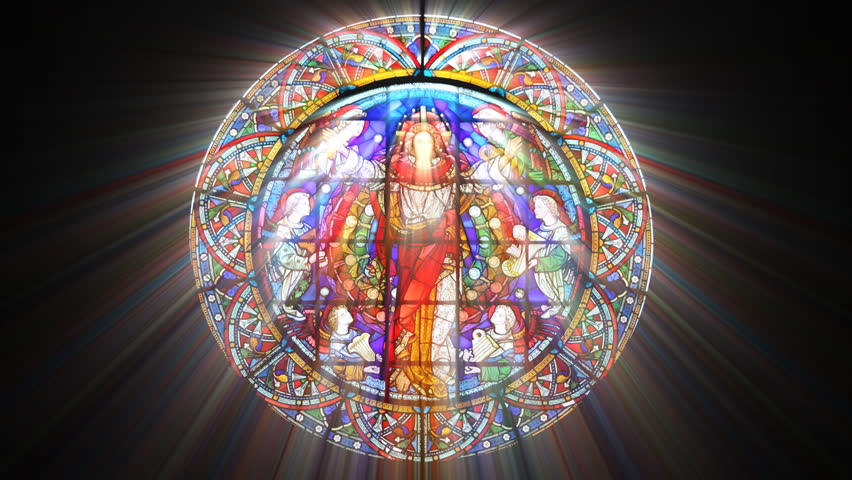 Stained Glass Jesus with light rays (Loop) - HD stock video clip