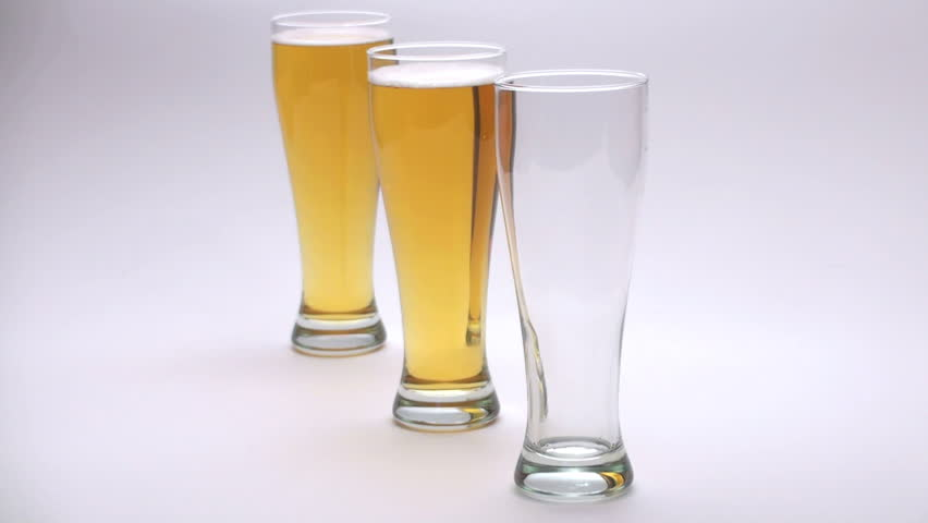 Three Beers in a row - HD stock footage clip