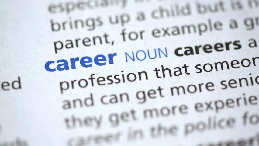 definition of career highlighted in the dictionary stock