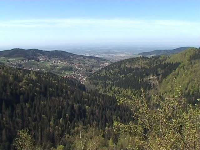 View from the black forest down on the upper Rhine plain over to France  - SD stock video clip