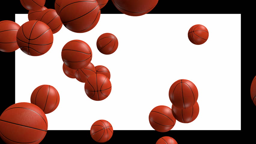many basketballs falling with alpha channel