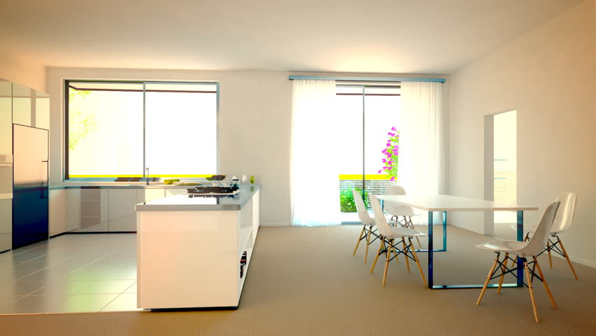 3d animation of kitchen and livingroom furnishing process.