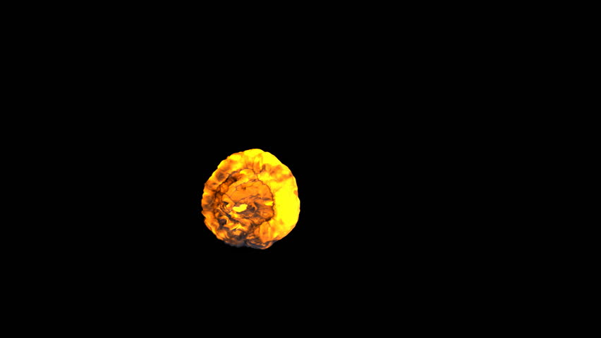 top view of a fiery explosion isolated on black background (HD, 1080p, high definition with alpha)