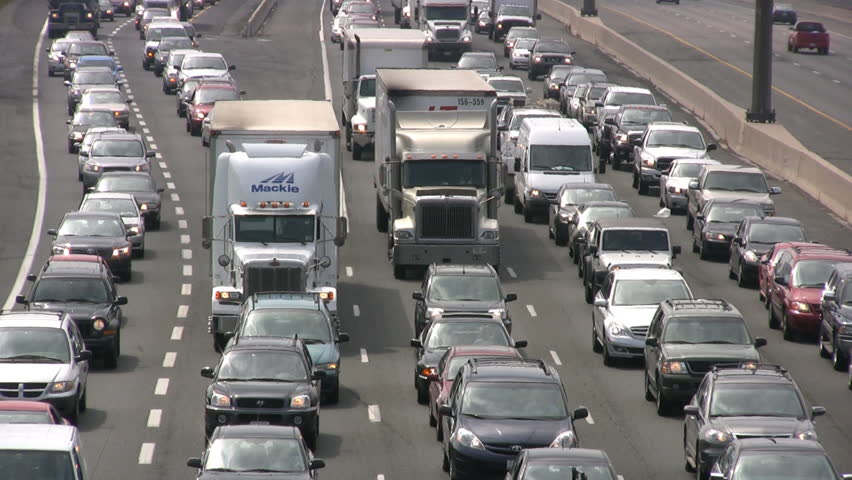 Toronto - September 2008: Canada's busiest highway the 401 is grinding to a halt with volume of traffic, September 2008 - HD stock video clip