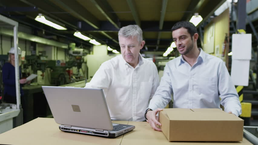 A team of workers in a warehouse or factory are going about their business and preparing goods for delivery. One male staff member is checking the inventory on a laptop computer.