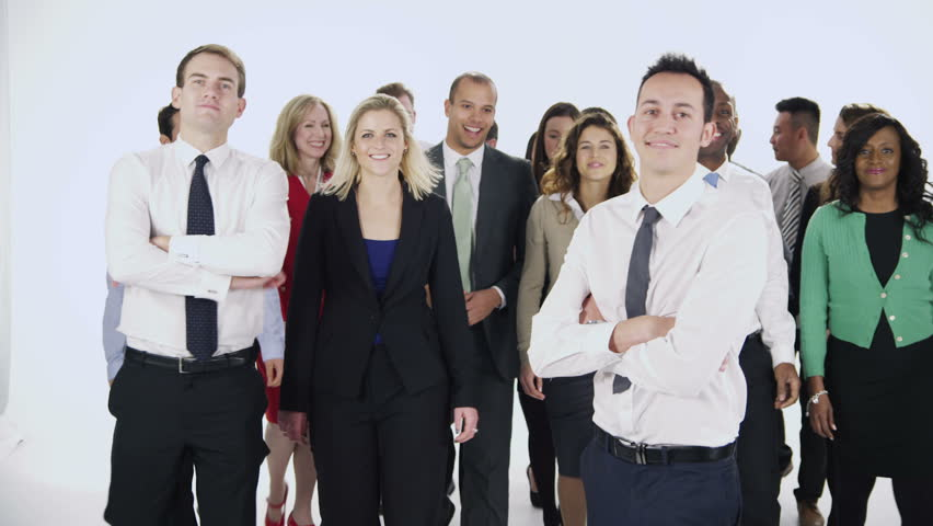 portrait of a large group of happy and diverse business