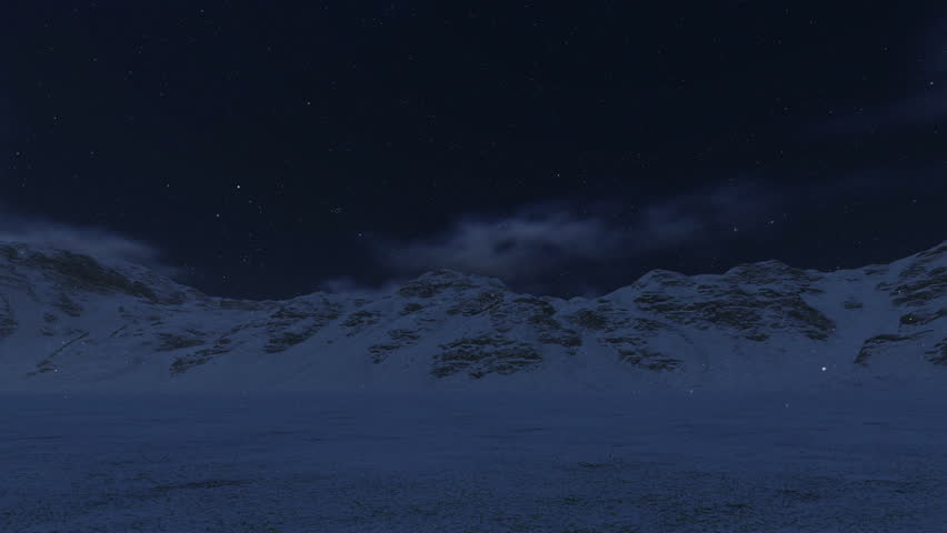 Snowy Mountains and Moon, camera panning