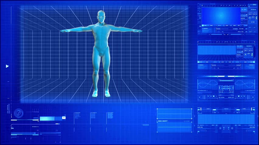 X-rays of the human body on a high-tech background - HD stock footage clip