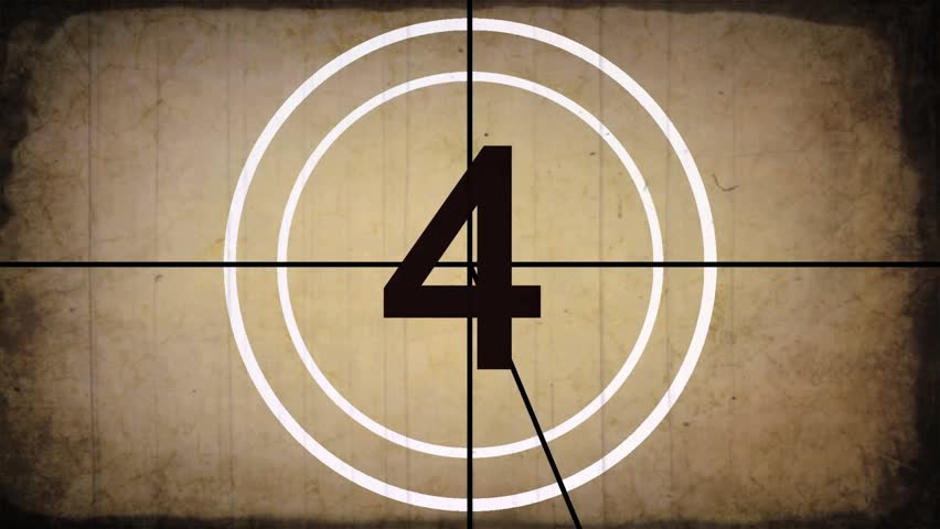 Countdown Leader Graphic 10 - 0, With Film Burn & Rolling Effect, Sepia