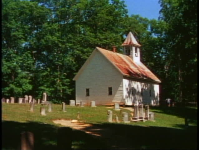 Great Smoky Mountains National Park, white clapboard church and graveyard