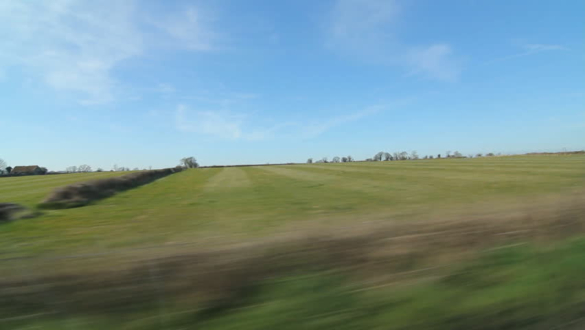 Drive in the country. Somerset fields.