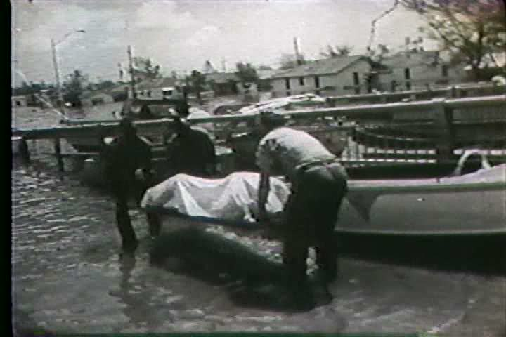 1960s - Hurricane Betsy threatens New Orleans. - SD stock video clip