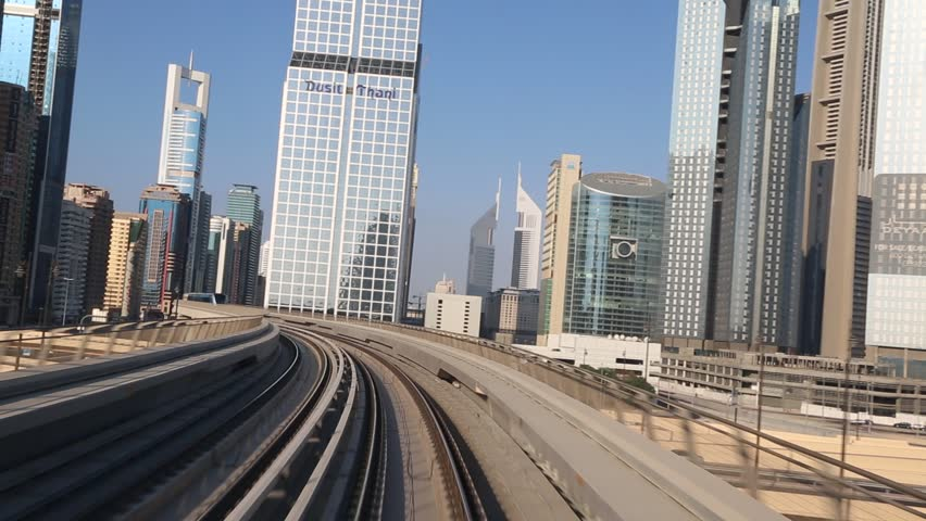 DUBAI, UAE - NOVEMBER 14 - The construction cost of the Dubai Metro project has shot up by about 80 per cent from the original US$ 4.2 billion to US$ 7.6 billion. Picture taken on November 14, 2012. - HD stock footage clip