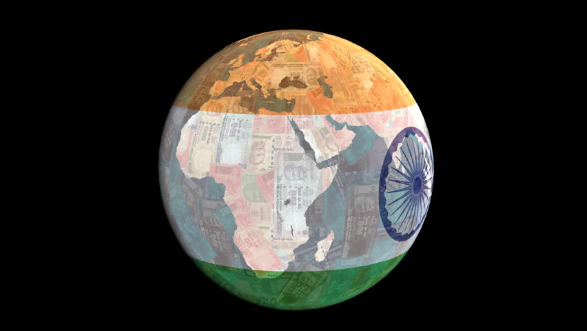 Indian flag globe with currency animation - HD stock footage clip