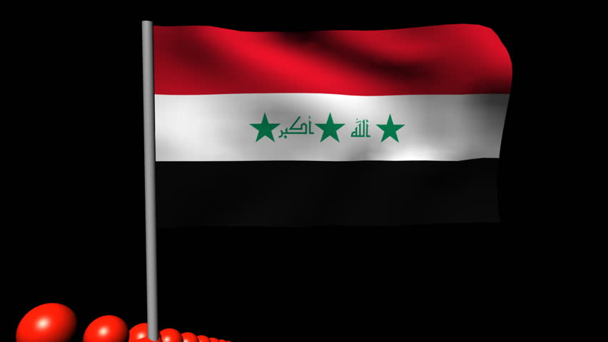 Zooming out from pyramid of men with rippling Iraqi flag animation