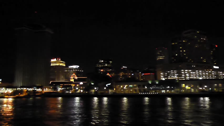 New Orleans, Louisiana -  June, 2011 - Medium shot of sailing towards New Orleans.