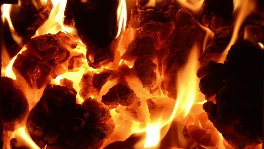 Burning Coal Close Up Of Red Hot Coals Glowed In The