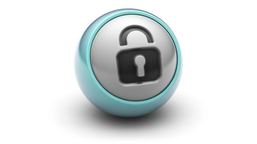 Lock icon on ball. Looping.