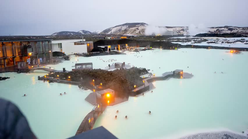 Time laps of the twilight over the Blue Lagoon geothermal bath resort in Iceland - HD stock footage clip