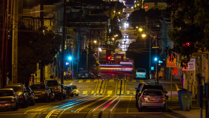 Time Lapse of San Francisco Cable Car at Night with traffic.