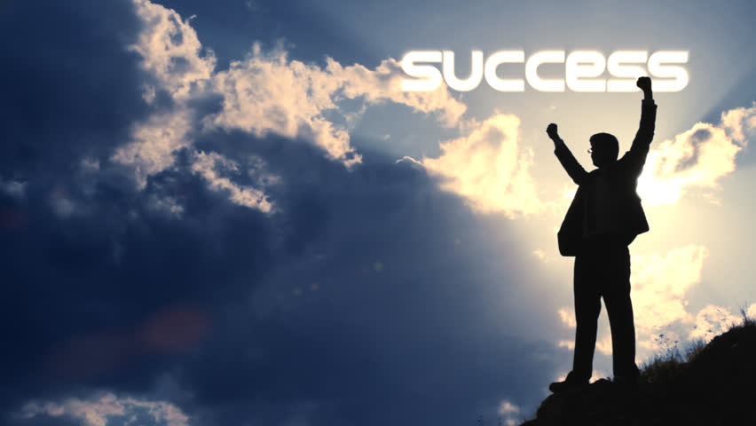 Businessman Success Text Title Flare Raising Hands Victory - HD stock video clip