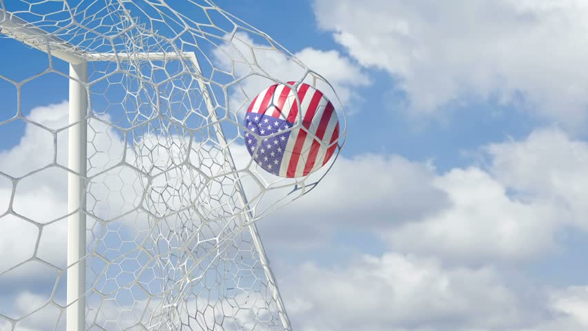 USA Ball Scores in Slow Motion with Sky Background - HD stock footage clip