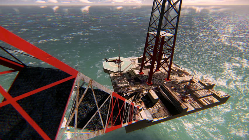 Helicopter taking off from an oil platform