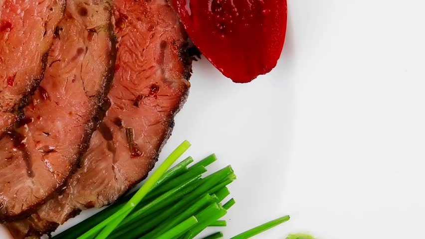 roasted meat served dish with capers 1920x1080 intro motion slow hidef hd