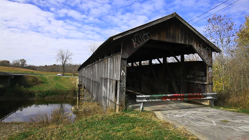 Beech Fork Covered Bridge, Kentucky - HD stock video clip