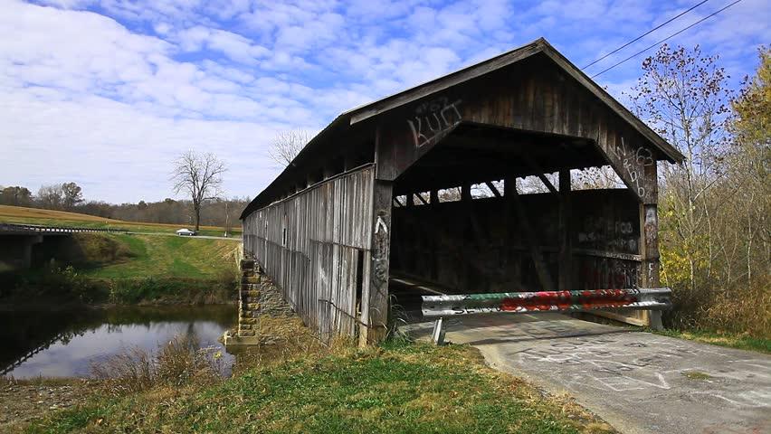 Beech Fork Covered Bridge, Kentucky - HD stock video clip