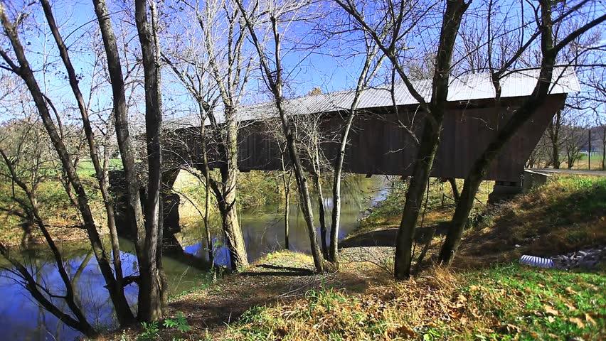 Bennett MIlls Covered Bridge, Kentucky - HD stock video clip