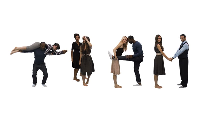 Flexible people - Unique horizontal point of view for this take on alphabet people forming the word 'TEAM'. Spelling the word out of a combination of interesting moves and holds.