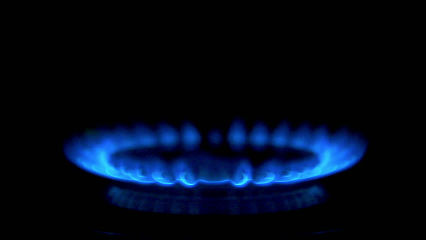 gas burning from a kitchen gas stove in slow motion. High speed 250fps.