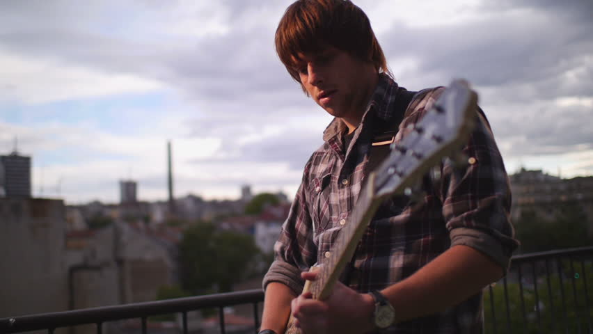 Man playing guitar - HD stock footage clip