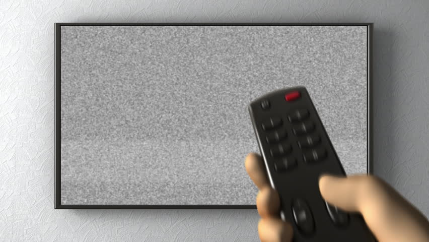 TV on the wall,  turning channels with a remote control. 3d animation - HD stock footage clip