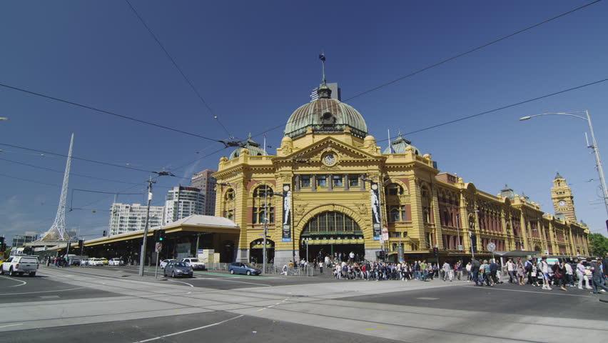 MELBOURNE - CIRCA OCTOBER 2009: Flinders Street Station with Tram going along Swanston Street
