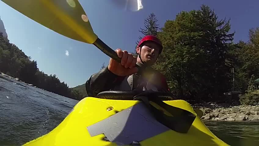 Kayaking eskimo roll, slow motion.