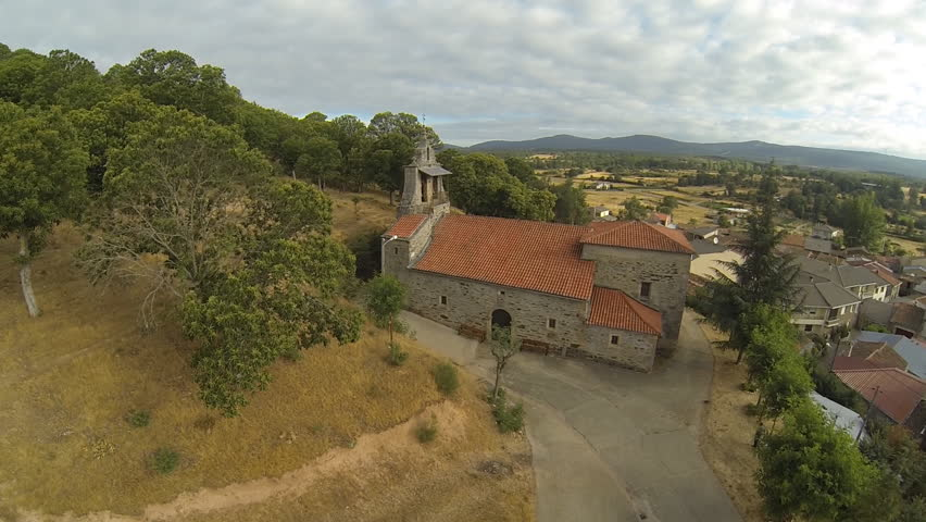 Aerial view of romanic church in Pobladura de Aliste, Spain